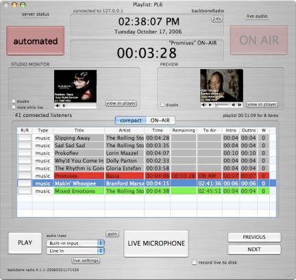 Backbone Radio OnAirDisplay